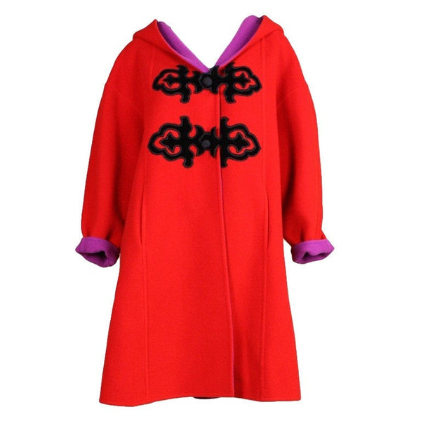 Christian Lacroix Coat 1990's Red Wool with Velvet Appliques Vintage - regenerationvintageclothing