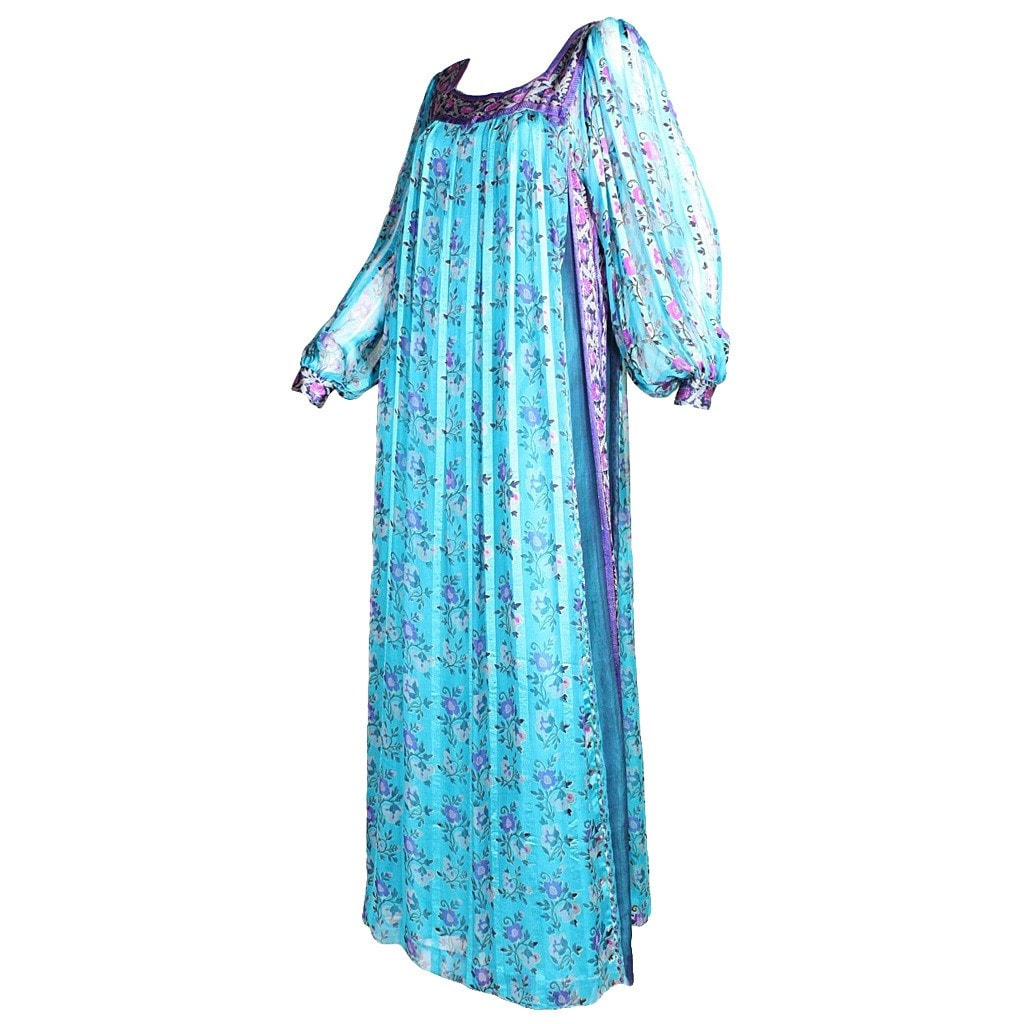 Vintage Clothing: 1970's Raksha Turquoise Silk Chiffon Maxi Dress