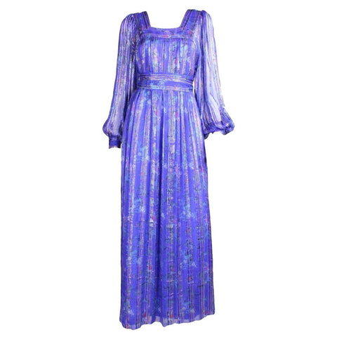 Raksha Maxi Dress 1970's Silk Chiffon Vintage - regenerationvintageclothing