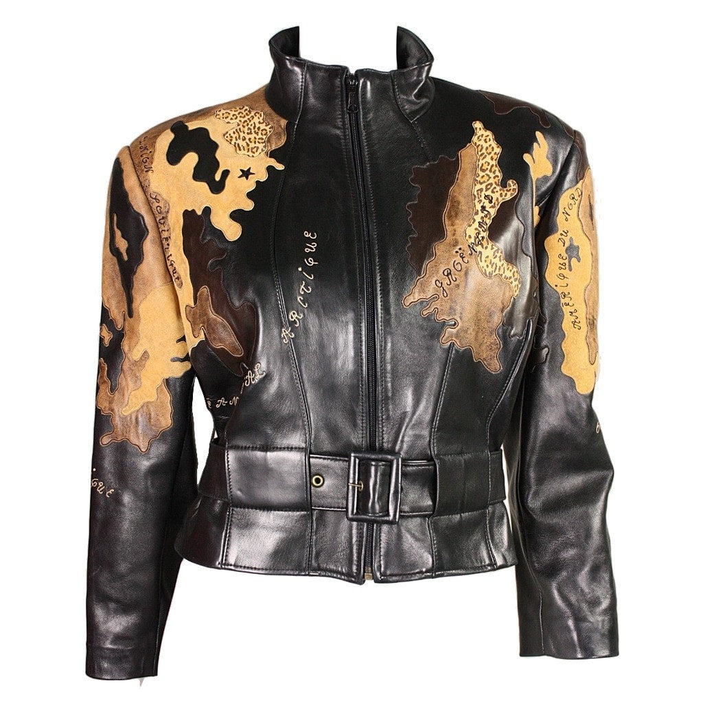 Vintage Clothing: 1990's Jean-Claude Jitrois World Map Leather Jacket