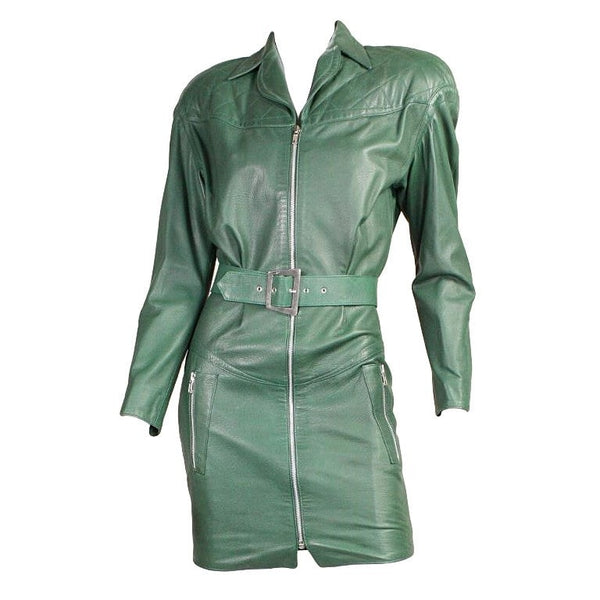 Thierry Mugler Mini Dress 1990's Green Leather Vintage - regenerationvintageclothing