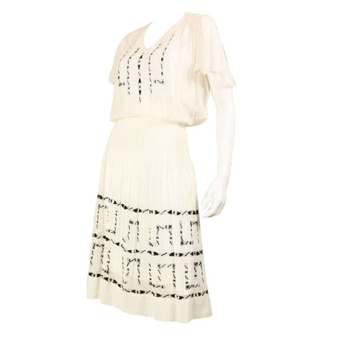 1920's Dress Voile With Black Geometric Openwork Vintage - regenerationvintageclothing