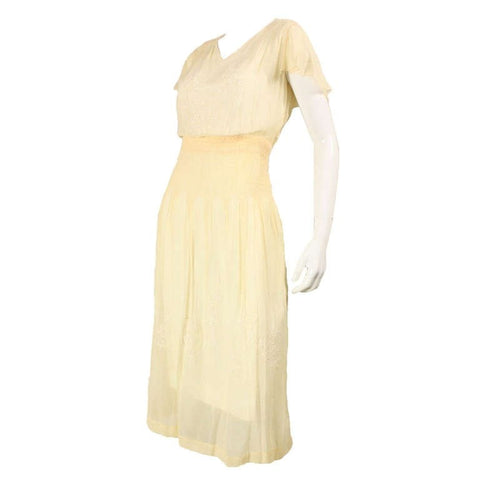 1920's Dress Yellow Voile with Hand-Embroidery & Smocking Vintage - regenerationvintageclothing