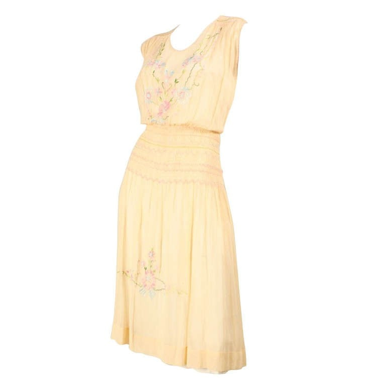Vintage Dresses: 1920's Peach Voile Dress With Floral Embroidery & Smocking
