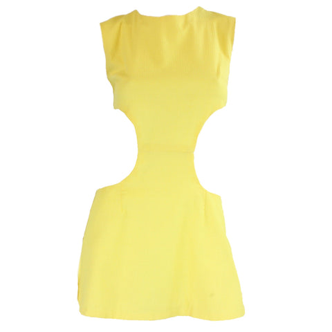 1960's Mini Dress Yellow with Cut-Outs Vintage - regenerationvintageclothing