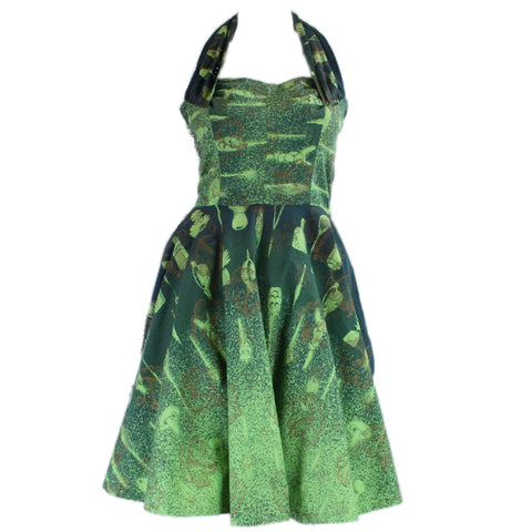 1950's Halter Dress Hawaiian Green Cotton Vintage - regenerationvintageclothing