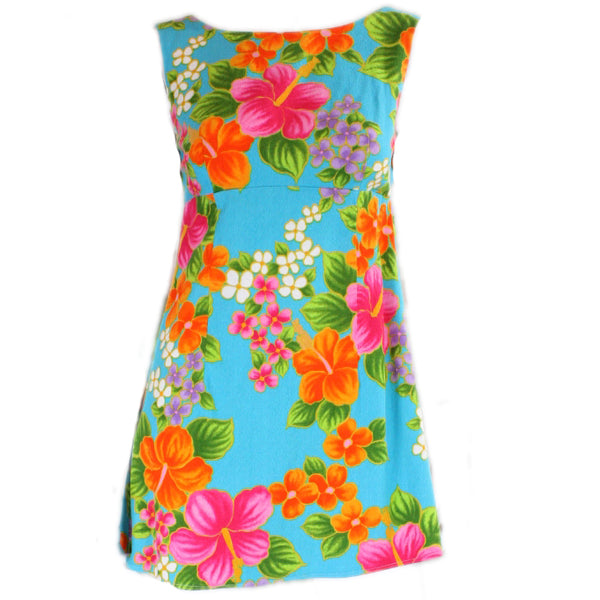 Vintage 1960's Hawaiian Mini Dress with Floral Print
