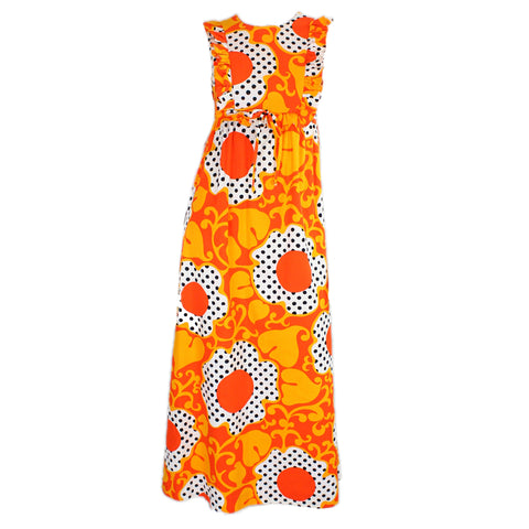 1960's Maxi Dress Psychedelic Polka-Dotted Vintage - regenerationvintageclothing