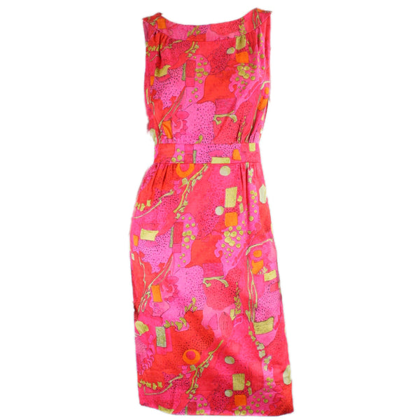 Vintage 1960's Day Dress with Abstract Print