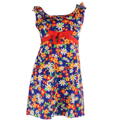 1960's Mini Dress Blue Floral Cotton Vintage - regenerationvintageclothing