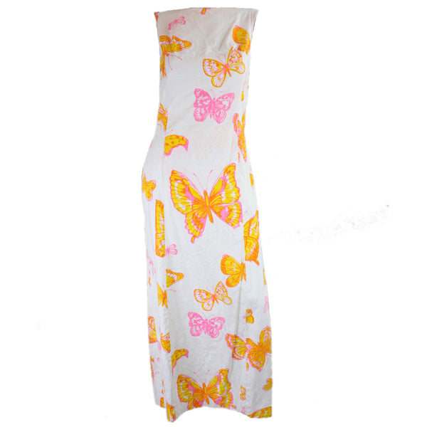 Vintage 1960's Maxi Dress with Butterfly Screenprint