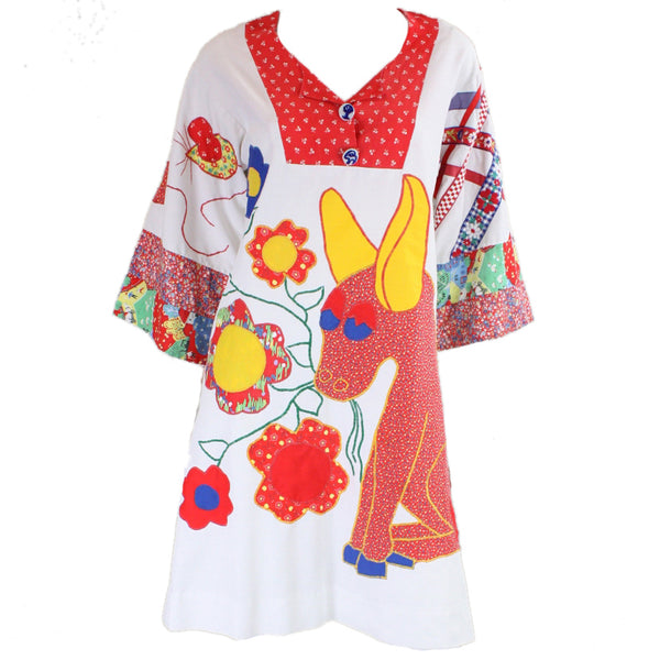 1960's Dress with Patchwork Figural Applique Vintage - regenerationvintageclothing