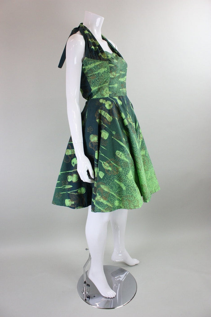 Vintage 1950's Hawaiian Green Cotton Halter Dress