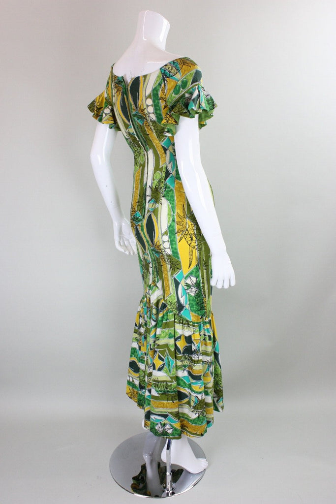 1960's Maxi Dress Hawaiian with Flouce Hem Vintage - regenerationvintageclothing