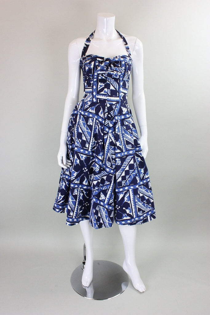Vintage 1950's Hawaiian Cotton Dress with Faux Batik Print