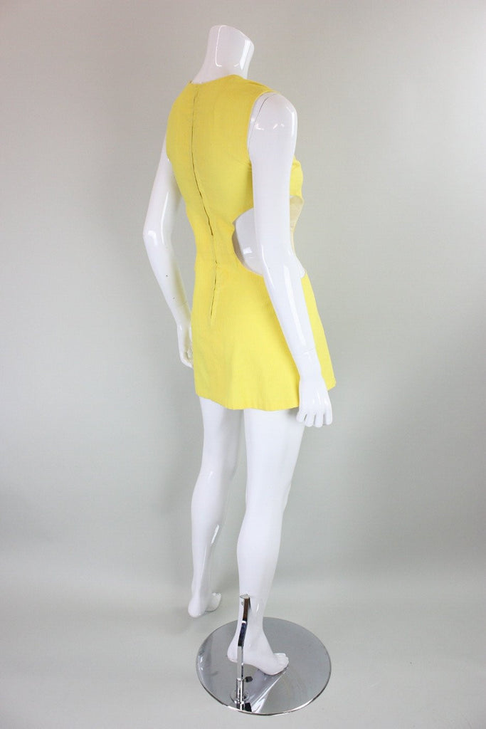 Vintage 1960's Yellow Mini Dress with Cut-Outs