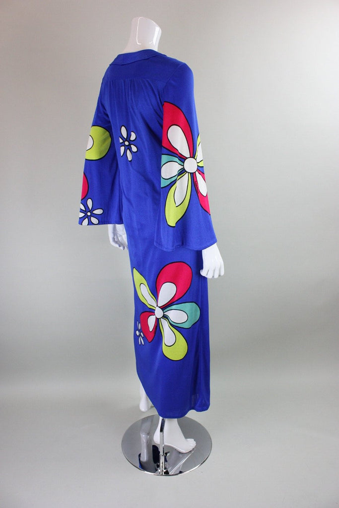 Vintage 1970's Jersey Maxi Dress with Floral Print