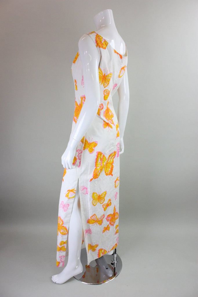 1960's Maxi Dress with Butterfly Screenprint Vintage - regenerationvintageclothing
