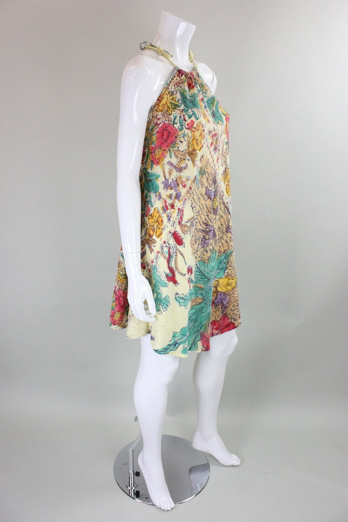 1970's Dress Gauze with Block Print Vintage - regenerationvintageclothing