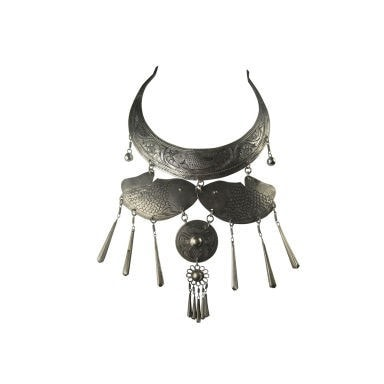 Vintage Clothing: 1960's Hammered Metal Bib With Fish Ornamentation