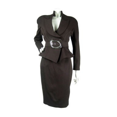 Thierry Mugler Skirt Suit 1990's Brown Skirt Vintage - regenerationvintageclothing