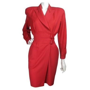Thierry Mugler Wrap Dress 1990's Red Vintage - regenerationvintageclothing