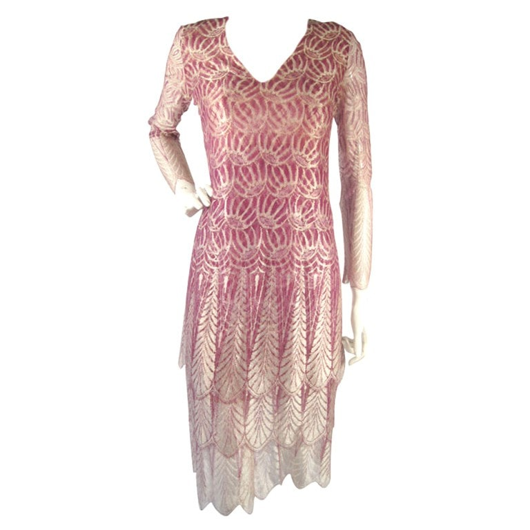 Galanos Dress 1970's Purple Lace Vintage - regenerationvintageclothing