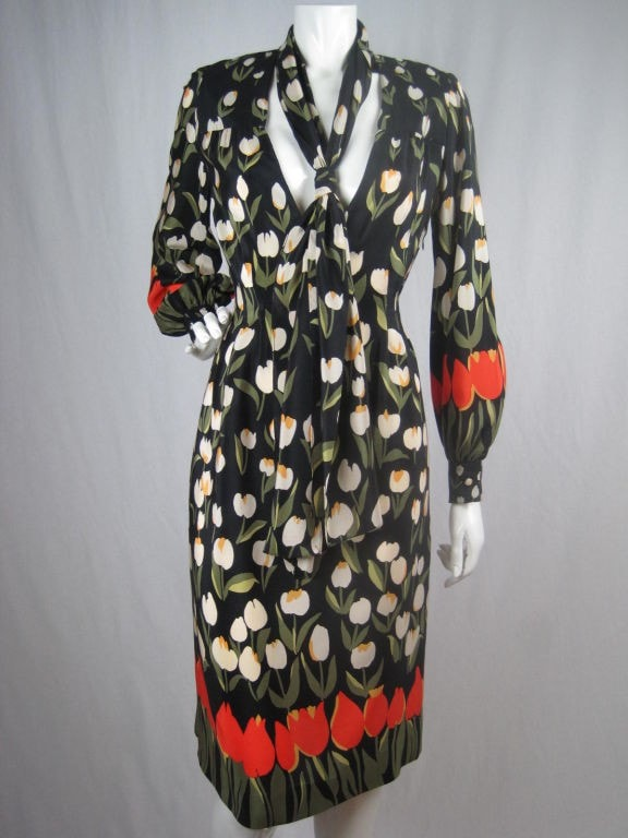 Bill Blass Dress Silk With Tulip Print Vintage - regenerationvintageclothing
