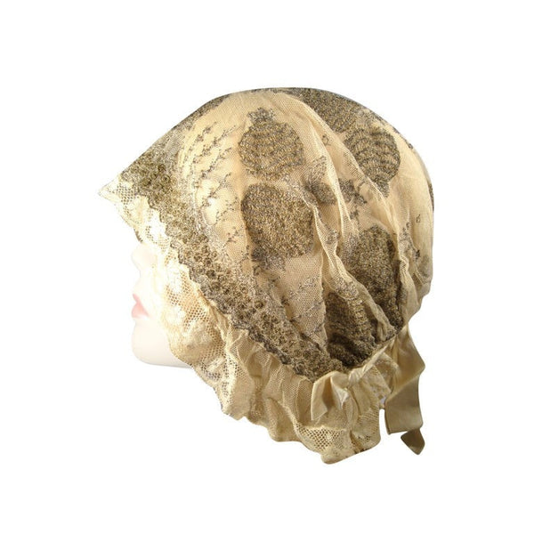 Vintage 1920's Ivory Lace Boudoir Cap with Metallic Embroidery