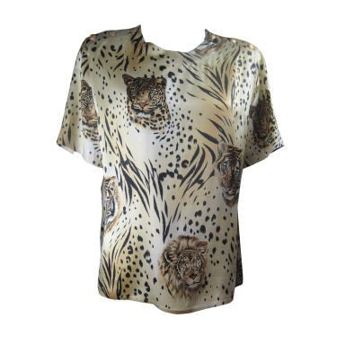 Escada Blouse 1980's Silk With Animal Print Vintage - regenerationvintageclothing