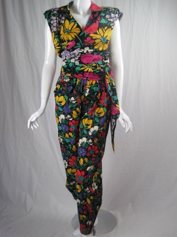 Ungaro Ensemble 1980's Floral Cotton Vintage - regenerationvintageclothing