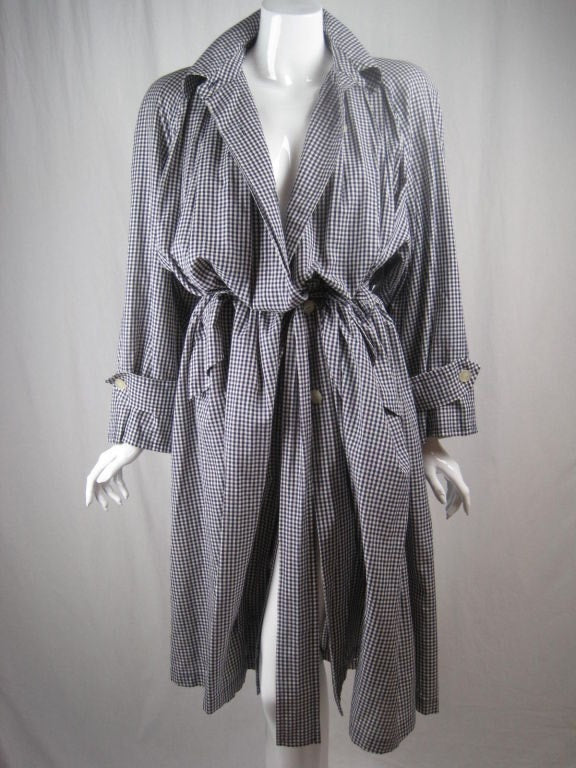 Mila Schon Overcoat 1980's Cotton Gingham Vintage - regenerationvintageclothing