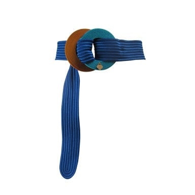 Yves Saint-Laurent Belt 1980's Ribbed Royal Blue Vintage - regenerationvintageclothing