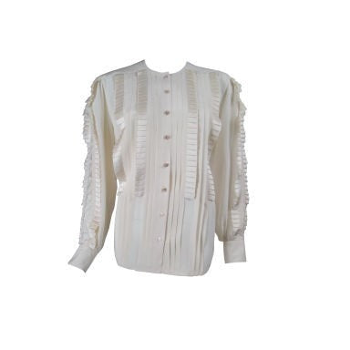 Vintage 1980's Escada Pleated Silk Blouse