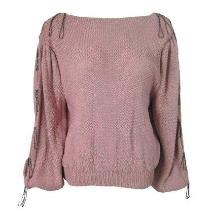 1980's Sweater Roberta and Brenda Pink Beaded Vintage - regenerationvintageclothing
