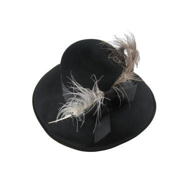 1950's Hat Leslie James Black Felt Vintage - regenerationvintageclothing