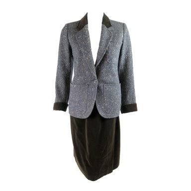 Yves Saint-Laurent Suit 1970's Tweed & Corduroy Vintage - regenerationvintageclothing