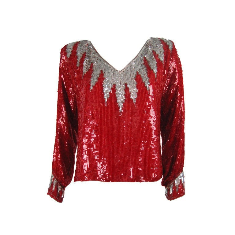 Vintage Clothing: 1980's Bright Red Sequined Blouse