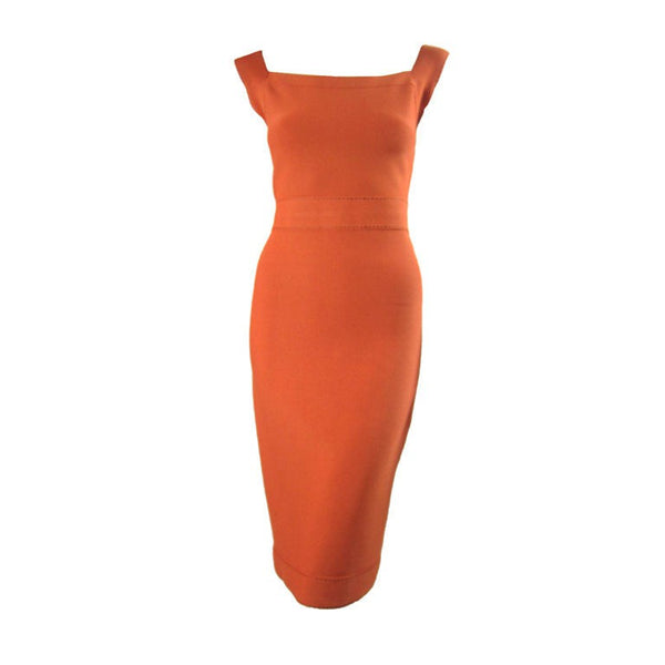 Herve Leger Dress Tangerine With Brown Ticking Vintage - regenerationvintageclothing