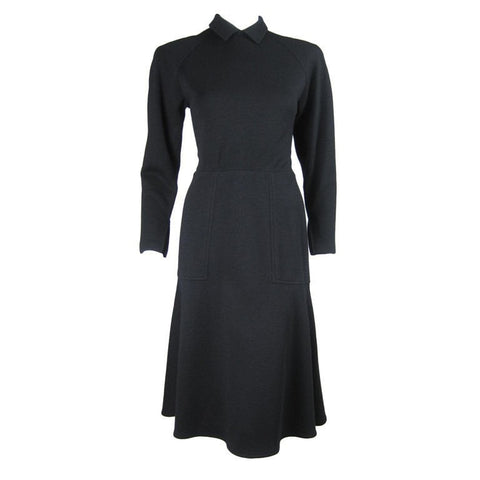 Bernard Perris Dress 1990's Black Wool Vintage - regenerationvintageclothing