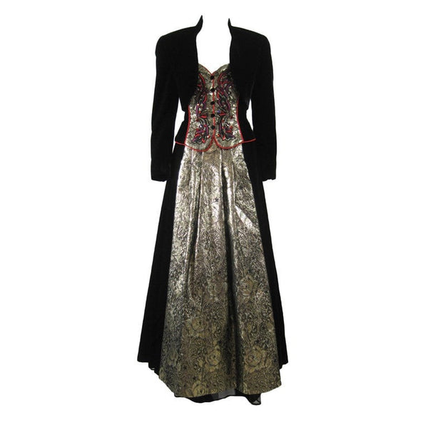 Escada Ball Gown 1980's Velvet with Matching Bolero Vintage - regenerationvintageclothing