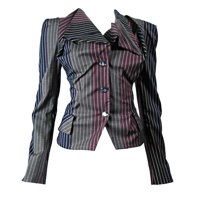 Vintage Clothing: 2000's Vivienne Westwood Pinstriped Asymmetrical Blazer