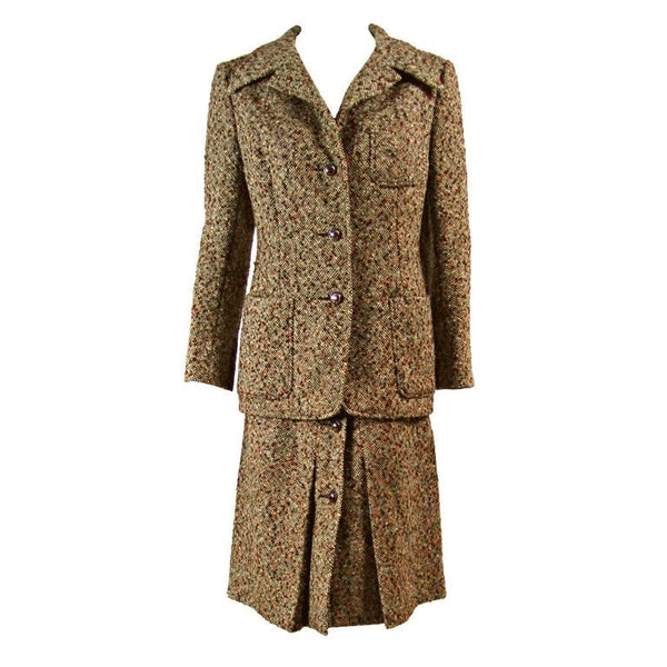 Christian Dior Couture Suit 1970's Tweed Vintage - regenerationvintageclothing