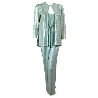 Vintage 1970's Halston Mint Green Fully Sequined Ensemble