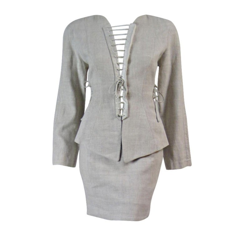 Vintage Clothing: 1980's Thierry Mugler Linen Suit with Lacing