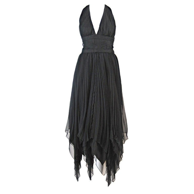 Vintage Dresses - 1980's Travilla Pleated Chiffon Halter Dress