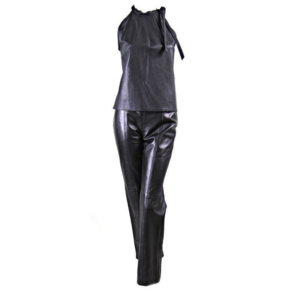 Herve Leger Ensemble 1990's Leather Vintage - regenerationvintageclothing