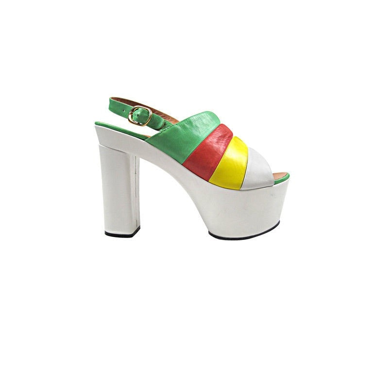 Vintage Clothing:  1970's Enzo Of Roma Multicolored Platform Heels