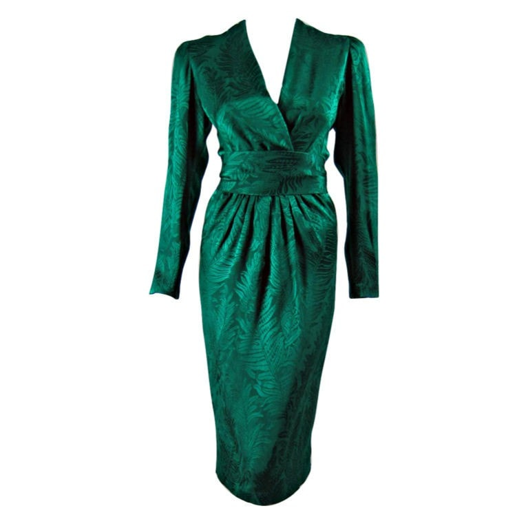 Oscar de la Renta Dress Jacquard Cocktail Vintage - regenerationvintageclothing