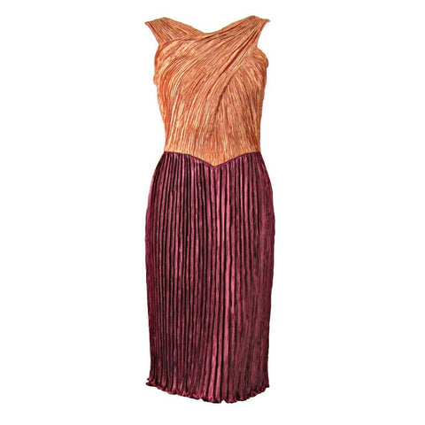 Vintage Dresses - 1990's Mary Mcfadden Couture Dress with Crisscrossed Bodice